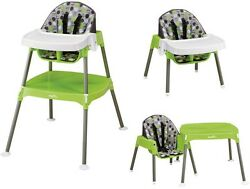 Convertible Feding Booster Infant Toddler Folding Plastic High Chair Dottie Lime