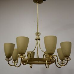 Mid Century Modern Brass Chandelier By Paavo Tynell for Lightolier