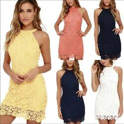 Elegant Formal Party Casual Office Halter Neck Sleeveless Laced Dress $38.00