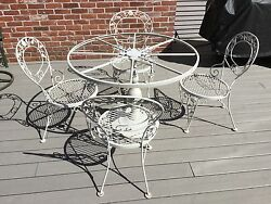WOODARD CHANTILLY ROSE Wrought Iron Patio Furniture Pedestal Table Chairs 15 PCs