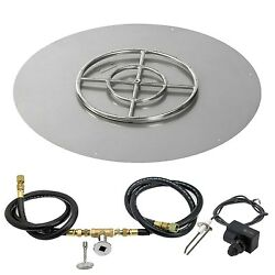 American Fireglass Spark Ignition Fire Pit Kit Round Flat Pan 36 Inch Pan18 I