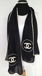 CHANEL BLACK  WHITE CC LARGE TOP CASHMERE SILK JACKET SCARF WRAP SHAWL NEW