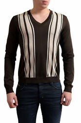 Prada Men's Multi-Color Silk V-Neck Sweater US M IT 50