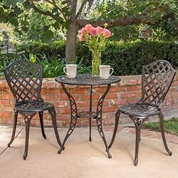 Patio Garden Bistro Set Outdoor Furniture Cast Aluminum Chairs Seats Table Decor