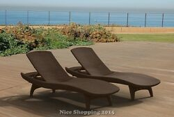 2 Pack Rattan Design Chaise Lounge Chair Furniture Outdoor Patio Poolside Relax