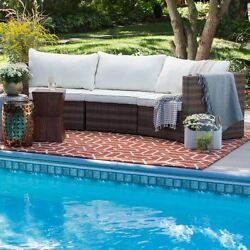 Patio Furniture Wicker Sectional Outdoor All-Weather Curved Sofa Resin Olefin