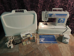 White Sewing Machine Model 1411 & Case Foot Pedal & Manual Misc Supplies