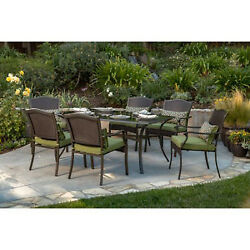 Wicker Dining Set Deck Patio Furniture 6 Green Cushion Chairs Table Garden Lawn