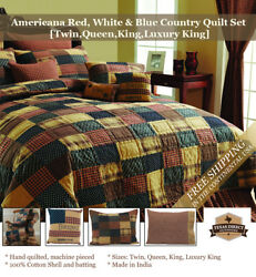 Patriotic Country Patchwork Quilt Set ~ Red Navy BlueTan  (Twin Queen King)
