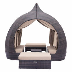 Luxury Outdoor Daybed Brown & Beige Beach Patio Day Bed Lounge Furniture Sofa