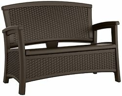 Storage Bench Patio Furniture Seat Outdoor Weather Resin Two Person Loveseat