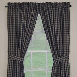 LINED CURTAIN PANELS 72WX84L IN NAVY PLAID STURBRIDGE PARK DESIGNS ONE PAIR