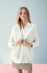 NEW Equipment Suzy Cable Knit Cashmere Cardigan- natural size M $348