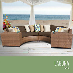 4 Piece Outdoor Wicker Sectional Patio Deck Pool Furniture Set Luxury Lounge