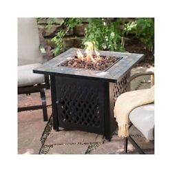 Outdoor Fire Pit Slate Tile Table Propane Gas Patio  Fireplace Backyard W Cover