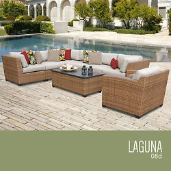 All Weather 8 Piece Furniture Set Sofa Table Sectional Lounge Modern Seating