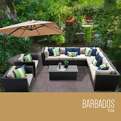 10 Pc Patio Furniture Set All Weather Rattan Wicker Outdoor Deck Pool Sectional