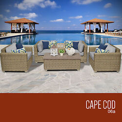6 Piece Outdoor Patio Furniture Set All Weather Wicker Deck Pool Coffee Seating