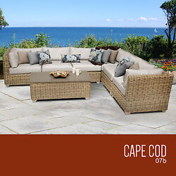 All Weather Sofa Set 7 Piece Wicker Outdoor Patio Deck Pool Furniture Sectional