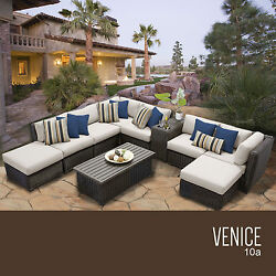 Wicker Sofa Set 10 Piece All Weather Outdoor Patio Deck Pool Furniture Sectional