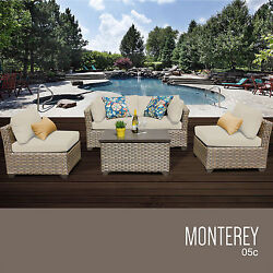 Patio Furniture Set 5 Pc All Weather Wicker Outdoor Deck Pool Sofa Storage Table
