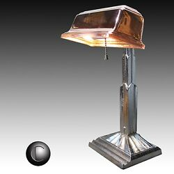 VTG Early 1930's Skyscraper Art Deco Chrome & Copper Banker's Lamp* RESTORED