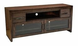 Amish North Avenue TV Console Modern Retro Solid Wood Glass Doors 66