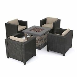 Outdoor 5 PC Wicker Club Chair Set & Stone Firepit Beautifully Crafted Must See