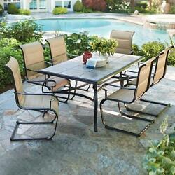 Dining Set For 6 Outdoor Patio Metal Tile Top Table Padded Sling Motion Chairs