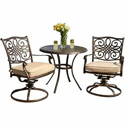 3 Pc Outdoor Bistro Set Patio Lawn Table & Swivel Chair Furniture With Cushion