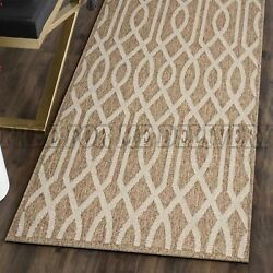 DENALI INDOOR OUTDOOR BROWN SPAGHETTI FLOOR RUG (XS) 80x150cm **FREE DELIVERY**