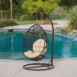 Tear Drop Swinging Chair Patio Outdoor Egg Style Wicker With Cushion Brown