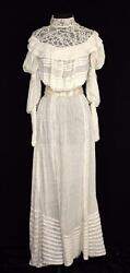 VERY RARE ANTIQUE EDWARDIAN HIGH NECK COTTON & SILK WEDDING DRESS SIZE 2