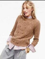 J.Crew Collection 100% Cashmere Sweater with Pom-Poms NWT Size Medium MSRP $395.