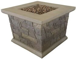 34 in. Square Envirostone Propane Fire Pit Outdoor Patio Heating Brown Portable