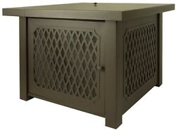 38 ''Outdoor Patio Gas Fire Pit Table in Bronze Stainless Steel Burner Lattice