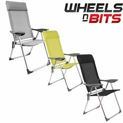 Folding High Back Aluminium Chair Seat Stool Removable Head Rest Garden Camping