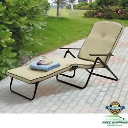 Patio Chaise Lounge Chair Outdoor Folding Cushioned Furniture Pool Deck Rest Tan