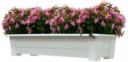 White Resin Deck Box Planter Flower Garden Patio Pot Porch Rail Drainage Planter