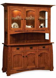 Amish Colebrook Hutch Buffet China Cabinet Mission Arts & Crafts Solid Wood