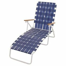 High Back Web Chaise Patio Lounge Chair With White Steel Frame Outdoor Blue