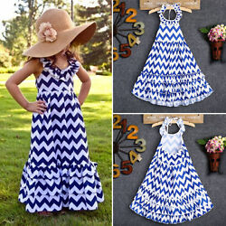 USA Maxi Kids Girls Long Party Dress Boho Stripe Summer Beach Sundress 3-10Y YMZ