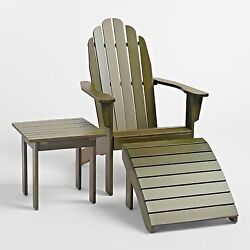 ADIRONDACK SET OLIVE GREEN OR BLACK CHAIR OTTOMAN TABLE 3 PIECE OUTDOOR DESIGN