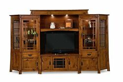 Amish Modesto TV Entertainment Center Wall Unit Rustic Mission Solid Wood
