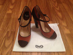 DOLCE & GABBABA WOMEN MARY JANES SUEDE WEDGES - BROWN TAN - SZ 36 OR 36.5 - NEW