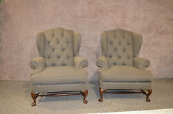 Pair of Broyhill Tufted Oversized Wing Chairs wStretcher Base