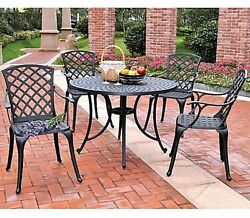 5-Piece Outdoor Patio Dining Set High Back Chairs Round Table Durable Heavy Duty
