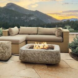 Stone Fire Pit Kit for Outdoor Patio Set Propane Gas 50000 BTU with Lava Rock