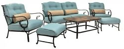 6-Piece Steel Patio Lounge Seating Conversation Set with Nepal Blue Cushions