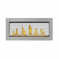 LV38 Linear See-Thru Fireplace w Two Hammered Steel Surrounds - NG